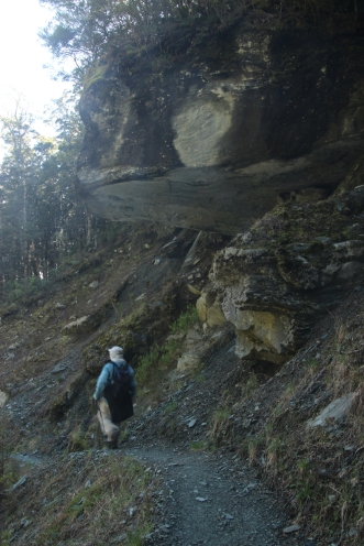 Walking under the hanging rock