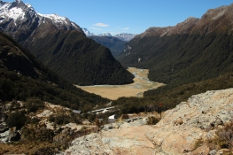 Looking down to Routeburn Flats
